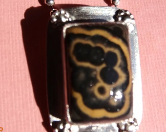 Reiki Cleansed and Blessed Flowering Tube Onyx Pendant