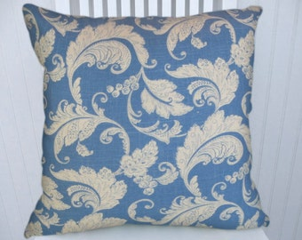 Blue Floral Decorative Pillow Cover- NEW!! 18x18 or 20x20 or 22x22  Throw Pillow --Accent Pillow