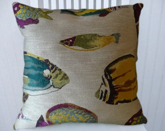 Blue Yellow Purple Fish Pillow Cover 18x18 or 20x20 or 22x22-Decorative  Throw Pillow- Lumbar Pillow Cover.