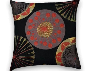 Suzani Decorative Pillow Cover-- Red, Black Gold Accent Pillow 18x18 or 20x20 or 22x22 Throw Pillow