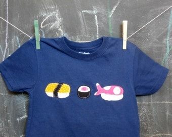 Sushi T-Shirt, Children's Geeky T-shirt, Blue Short Sleeve, Toddler Sizing, Appliqued Sushi Shirt, Children's Clothing, Appliqued Clothes