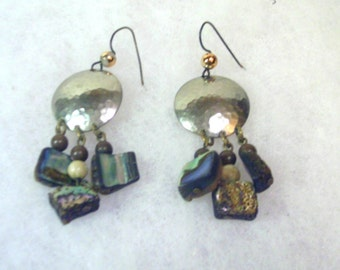 Vintage Earrings Hammered Brass Disk with Abalone Item 1279
