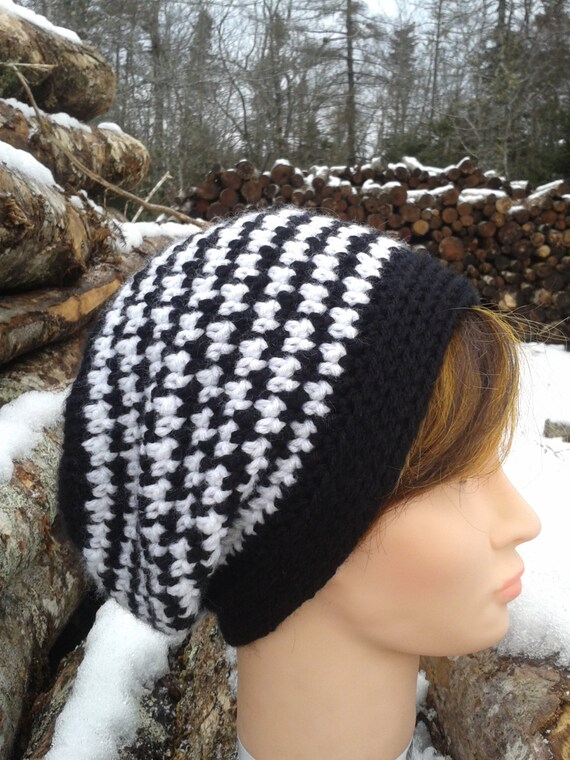 Free Crochet Pattern Houndstooth Hat : Items similar to Ladies Houndstooth Slouch Hat Pattern on Etsy