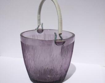 Amethyst glass ice bucket - woven plastic handle