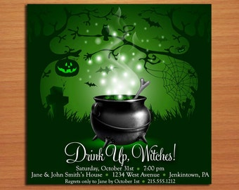 Witches Brew Halloween Party Customized Printable Invitations /  DIY