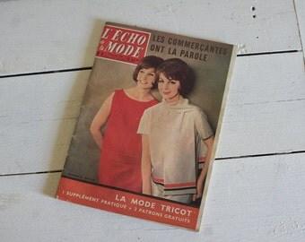 Vintage French Magazine // 1960 Fashion & Craft // Women Retro Fashion Knitwear // Mad Men Mid Century // Red Coral Orange