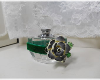Emerald Blooms Crystal Perfume Bottle