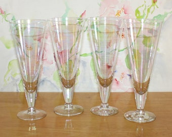 Beautiful, Set of 4, Vintage Iridescent Pilsners by Riekes Crisa