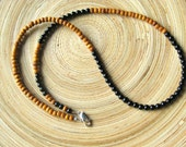 Fibonacci sequence necklace with black onyx and sandalwood math necklace golden mean golden ratio