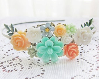 Peach Mint Green Wedding Headband Woodland Bridal Hairband Bridesmaid Head Piece Floral Flower Leaf Pastel Colors Coral Ivory Turquoise Teal
