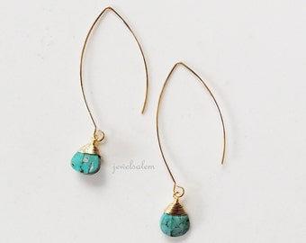 Turquoise Stone Earrings Gold Wire Wrapped Blue Tear Drop Gemstone Dangling Modern Casual Simple Rustic Every Day Jewelry Gift for Her C1