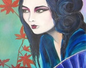"""Geisha in Autumn 11"""" x 14""""  Print on Gallery Stretched Canvas"""