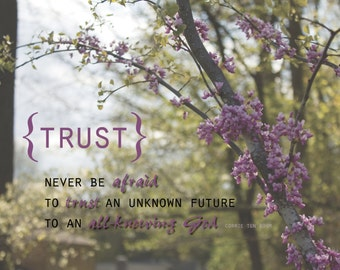 Never Be Afraid to Trust an Unknown Future to an All Knowing God | 16 x 20 Trust Quote from Corrie Ten Boom | Christian Wall Art