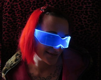 The Original Illuminated Cyber goth visor V2 Blue