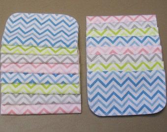 Set of 10 Chevron print, reusable cloth napkins, baby wipes, lunch napkins
