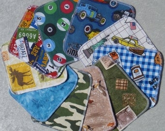 Set of 15 Adult pattern print, reusable cloth napkins, baby wipes, lunch napkins, non paper napkins, eco friendly