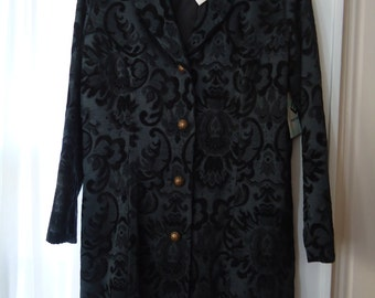 Vintage 1980's Black Floral Motif Long Sleeved Coat with Bronze Buttons Size Small