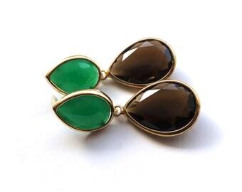 Green Brown Teardrop Earrings - Gold Framed Gem Handmade Jewelry