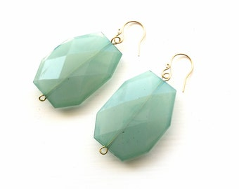 Sea Foam Green Earrings - Lightweight Beaded Handmade Jewelry
