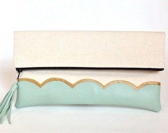 Mint Green & Gold Scallop Canvas Clutch