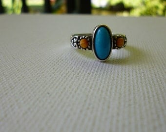 Sterling Silver Turquoise and Orange Ring