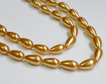 Gold glass pearl teardrop pendant bead 17x8mm full strand 9915GL