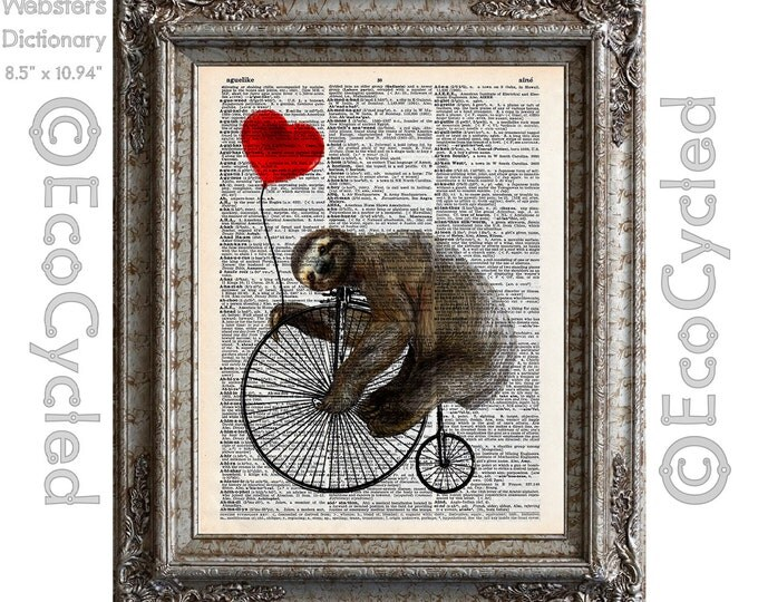 Happy Sloth on Penny Farthing Velocipede with Red Heart Balloon on Vintage Upcycled Dictionary Art Print Art Print Bicycle bookworm gift