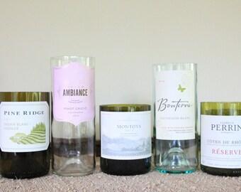 Set of 5 Wine Bottle Candle Holders, Cut Wine Bottle, Head Table Decor,  Romantic Tabletop, Wedding Decor,  #475 Set 1