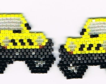 Hand Beaded Yellow Jeep earrings