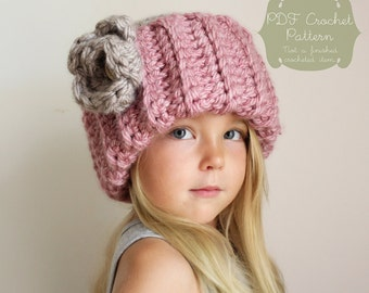 Crochet PATTERN: The Cassidy Cap -Toddler, Child, & Adult Sizes- chunky, ribbed, simple, easy, flower, rose