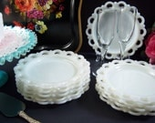 """Milk Glass Plates - Set of Ten """"Old Colony"""" Lace Edge Milk Glass Plates - Wedding Milk Glass - Vintage Wedding - Shabby Chic - Milk Glass"""