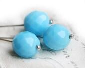 10mm Fire polished Sky Blue beads, czech glass beads, large, round - 6Pc - 0092