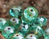 Picasso Czech glass beads - Light Teal Green - donut, rondelle, gemstone cut, fire polished - 6x8mm - 12Pc - 1591