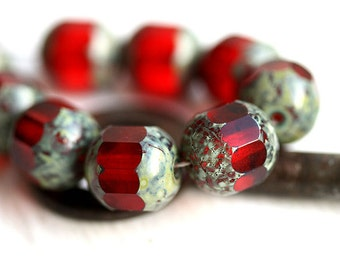 Picasso beads, Red glass beads, fire polished czech beads, faceted, round cut - 10mm - 10Pc - 2486