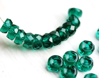 Ocean Teal Rondelle beads, fire polished czech glass spacers - 6x3mm - 25Pc - 0675