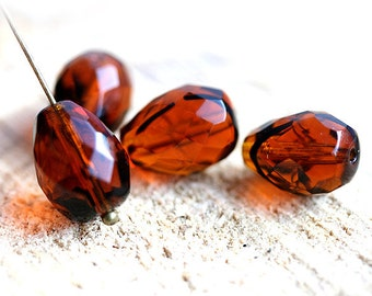 Topaz Brown Tiger striped czech glass beads - fire polished teardrops 13x10mm - 4Pc - 0094