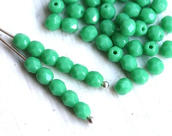 4mm Green Turquoise Fire polished czech glass beads round spacers - 50Pc - 1669