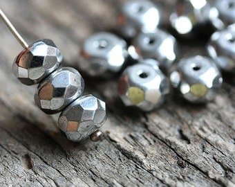 Silver coored Czech spacer beads, silver glass beads, donut, rondelle, gemstone cut - 5x8mm - 12Pc - 0169