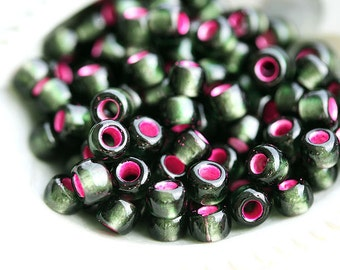 TOHO Seed beads, size 6/0, Silver-Lined Frosted Olivine Pink Lined, N 2204, round, japanese glass beads, rocailles- 10g - S335