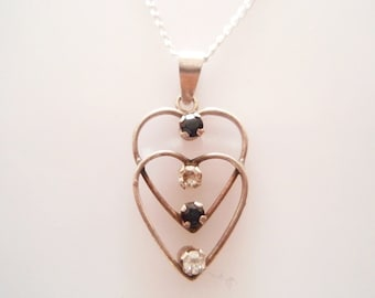 Vintage Sterling Silver Double Heart Gem Set Necklace