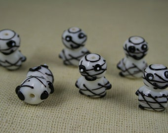 Halloween Cute Mummy Lampwork Glass Beads (Pack of 2 beads) (L01021)