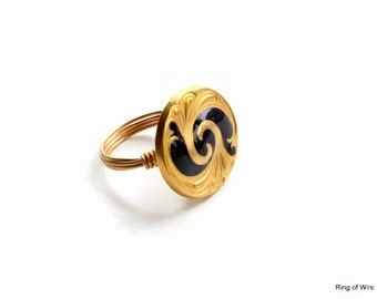 Gold Button Ring, Blue Button Ring, Navy Blue Ring, Wire Wrapped Ring, Brass Wire Ring, Gold Scroll Ring, Metal Button Ring