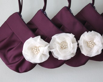 Bridesmaid Clutch / Wristlet clutch in Plum Satin & ivory stardust brooch - Perfect Bridesmaid Gift