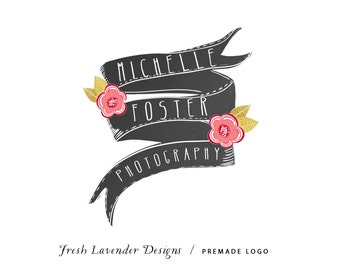 Custom logo Design Premade Logo and Watermark for Photographers Small Businesses Chalkboard Banner with Flowers Hand Drawn Shabby Chic