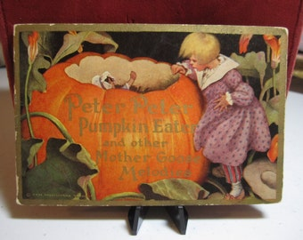 1914 antique COLGATE children's advertising booklet Peter Peter Pumpkin Eater and other mother goose melodies with ads for cashmere talcum