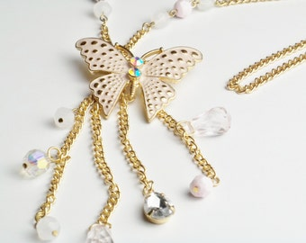 Butterfly Pendant Vintage Necklace Rhinestone Enamel Faceted Beads Gold Chain Costume Jewelry Long Dangle Necklace