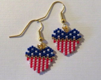 Beaded peyote heart flag earrings