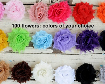 "Mini Shabby Flowers - Chiffon Frayed Flower - Set of 100 - Fabric Flower - 1.5"" Flower - You Choose Colors - Wholesale Fabric Flower - MINIS"