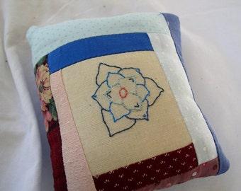 Pincushion, mini pillow, embroidered flower, original design