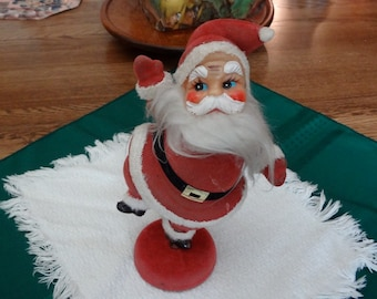 Vintage Dancing Plastic Santa with Felted Outfit and Stand - REDUCED